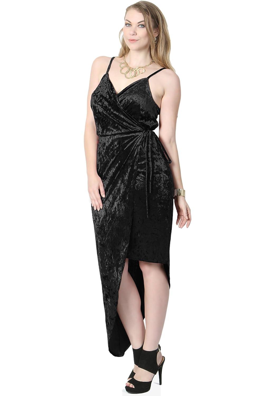 ef5f451ec9 TheMogan Plus Velvet Plunge V-Neck Strappy High Low Night Cocktail Wrap  Dress at Amazon Women s Clothing store