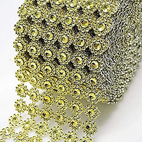 Gold Diamond Flower Shape Mesh Wrap Roll Faux Rhinestone Crystal Ribbon 4 x 10 Yards /… 30 ft