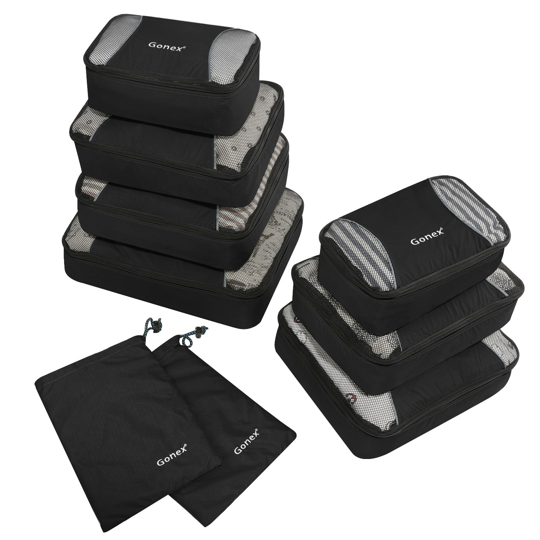 Gonex Rip-Stop Nylon Travel Organizers Packing Bags Black
