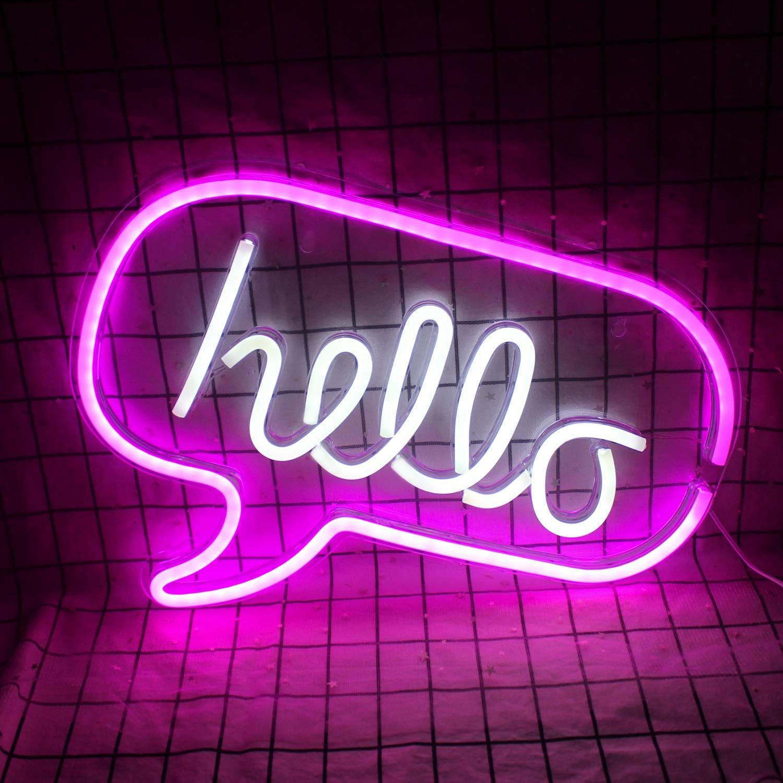 Rose Blanc Bonjour Bonjour LED Lumi/ère Neon Mot Signe Lettres Lumi/ère Mur D/écor Pour Baby Kids Salon Anniversaire Fournitures De F/ête De Mariage 16.9x12.6