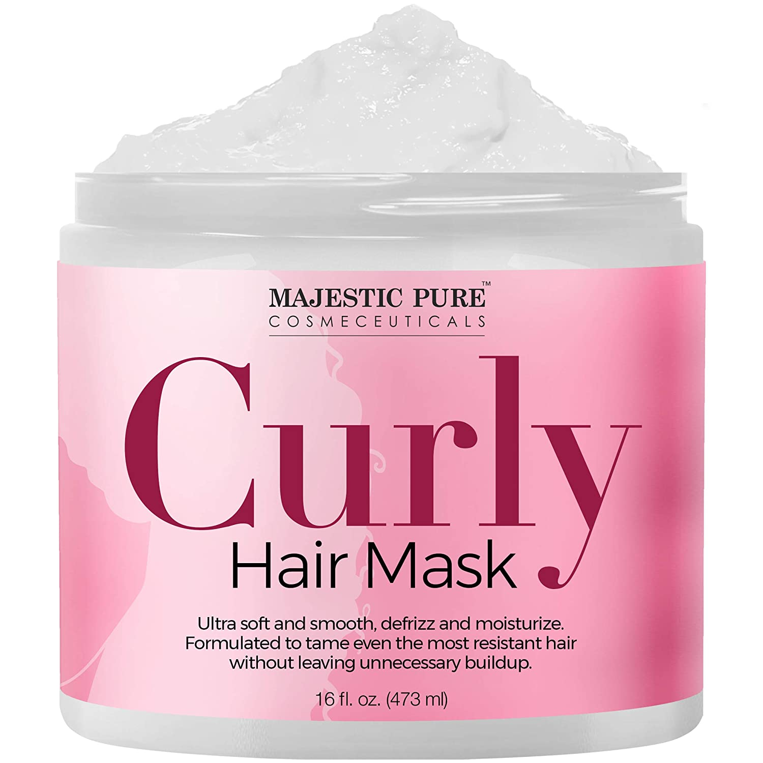 Majestic Pure Curly Hair Mask for Ultra Soft & Smooth Hair, Defrizz, Moisturize, Deep Conditioning Hair Treatment for Dry Damaged Hair and Chemically Processed Hair, 16 Fl. Oz.