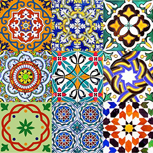 Backsplash Tile Stickers 24 PC Set Authentic Traditional Talavera Tiles Stickers Bathroom & Kitchen Tile Decals Easy to Apply Just Peel and Stick Home Decor 4x4 Inch (Bathroom Tile Stickers AB2)