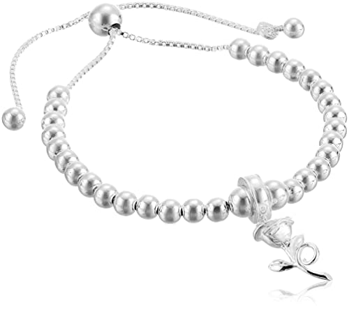 Amazon Com Disney Sterling Silver Beauty And The Beast Rose Beaded