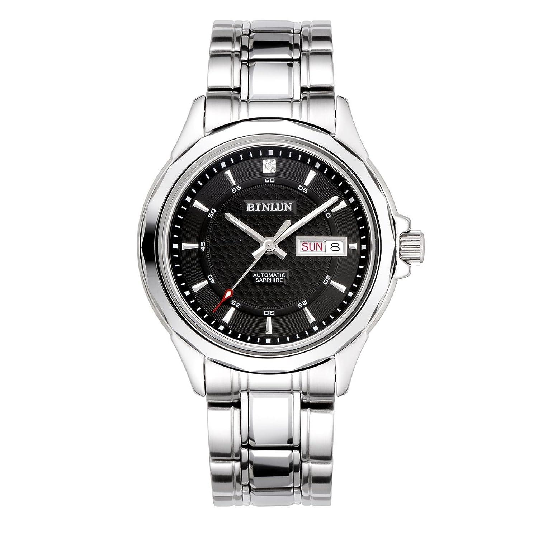 binlun Herren Cool Schwarz Zifferblatt Edelstahl Stahl wasserdicht Japan Bewegung Armbanduhr mit Kalender - 41 mm