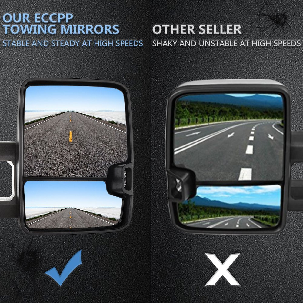 ECCPP Towing Mirror Power Heated SignaL Replacement fit for 2014-17 Chevy Silverado GMC Sierra Pickup Pair Set