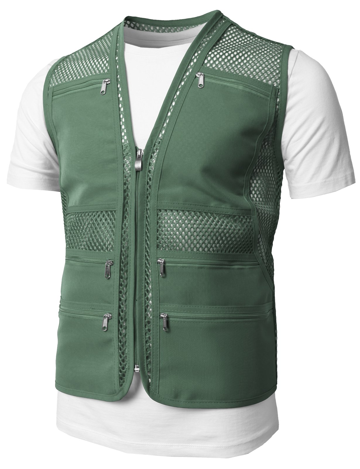 H2H Mens Casual Work Utility Hunting Travels Sports Mesh Vest With Pockets Green US L/Asia XL (KMOV086)
