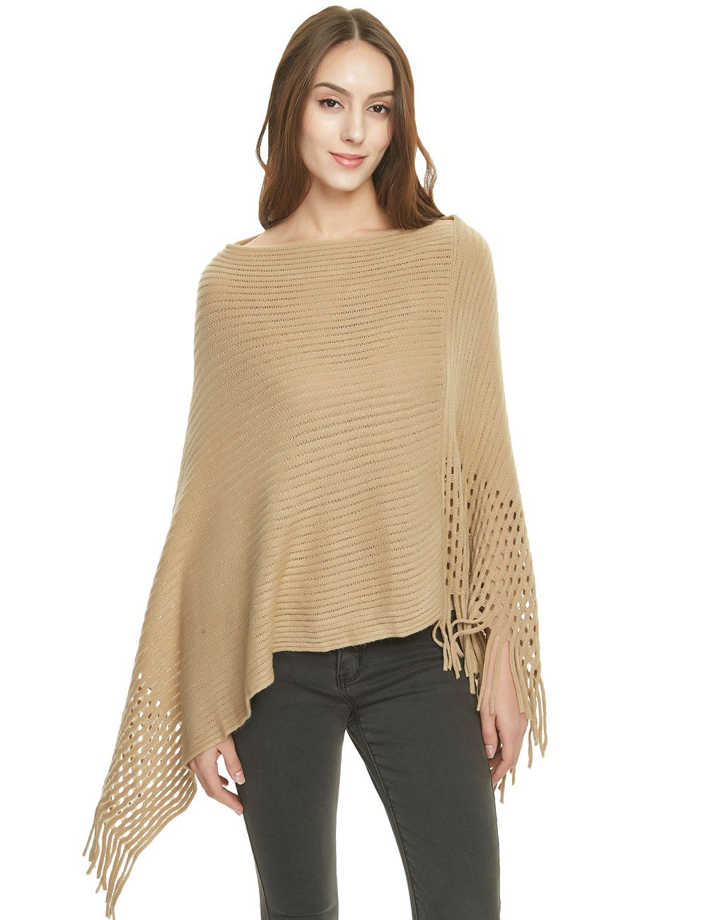 Ferand Women's Crochet Knit Poncho Sweater Soft Cape Shawl with Fringes, Khaki