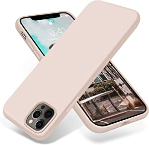 OTOFLY Designed for iPhone 12 Pro Max Case,[Silky and Soft Touch Series] Premium Soft Liquid Silicone Rubber Full-Body Protective Bumper Case for iPhone 12 Pro Max 6.7 inch,Light Pink