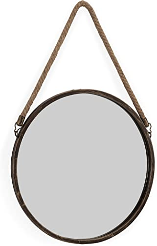 Danya B. SE021 Decorative Rustic Metal-Framed 15 Gold Patina Round Wall Mirror with Hanging Rope
