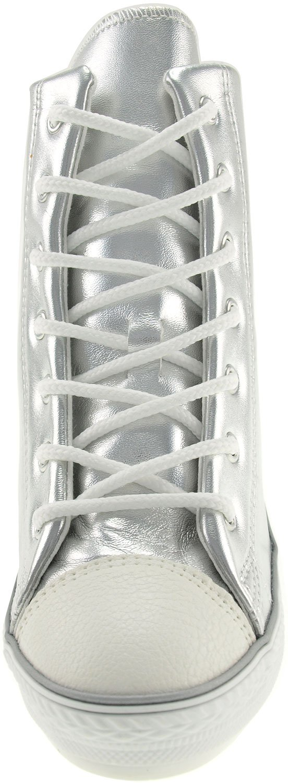 Maxstar Women's 777 Back Zipper PU High Wedge Heel Sneakers B00CP0286C 6.5 B(M) US|Silver