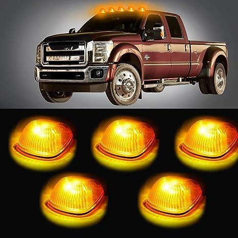 cciyu 5 pcs ámbar Cab Roof Top marcador Running Lamps W/Xenon Blanco Led luz