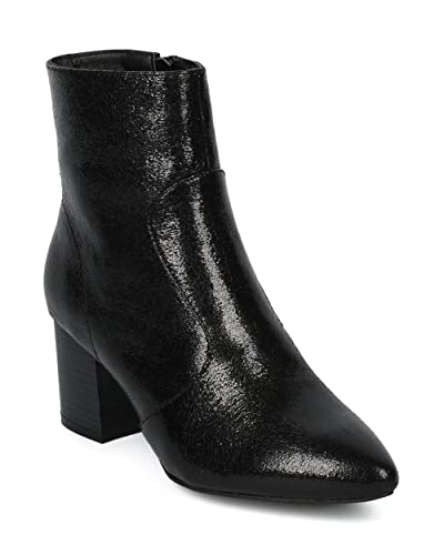 Women Cracked Metallic Pointy Toe Stacked Chunky Heel Bootie - HF30 by Wild Diva Collection