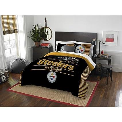 Pittsburgh Steelers Comforter Set Bedding Shams NFL 3 Piece Full Queen Size  1 Comforter 2