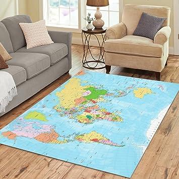 Amazon interestprint world map area rug floor mat 7 x 5 feet interestprint world map area rug floor mat 7 x 5 feet detailed political gumiabroncs Images