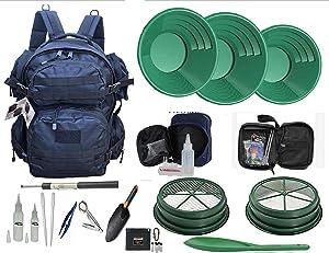 """VAS 49'er Black Weekender Gold Panning 22 pc Back Pack Kit   Back Pack   3 Green Gold Pans   2 Classifiers 1/2"""" & 1/8""""   49'er Bag & Accessories"""