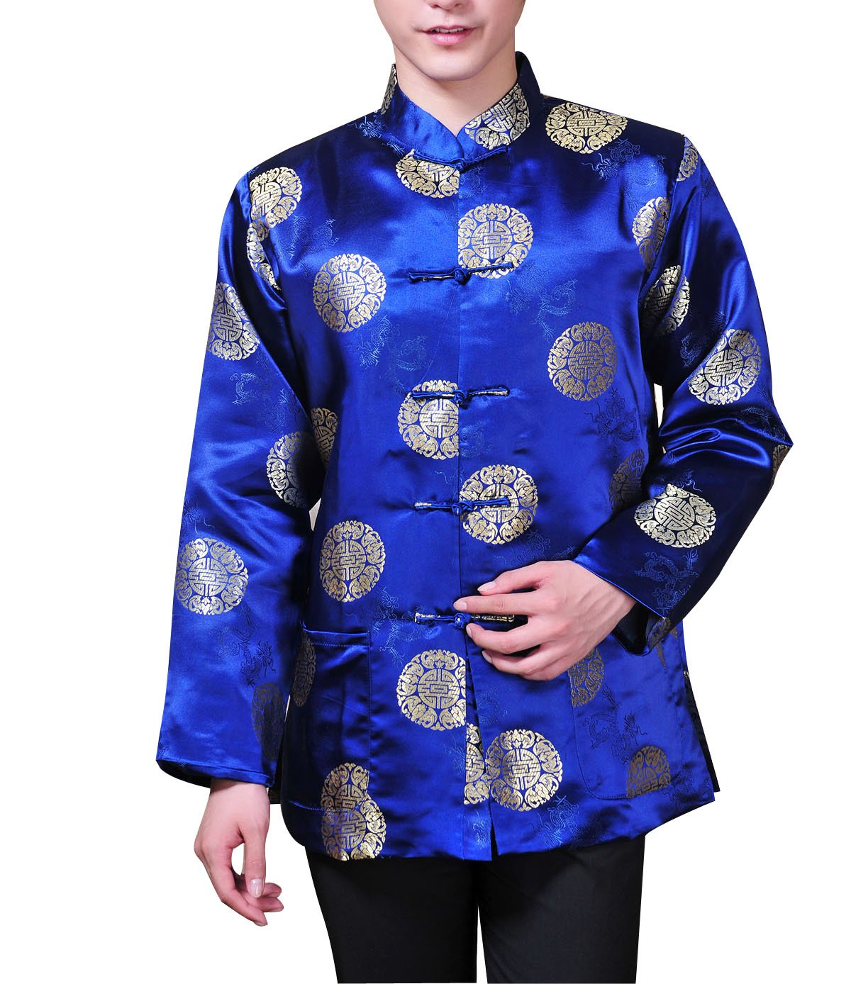ACVIP Men's Lucky Coin and Dragon Brocade Long Sleeve Chinese Kung Fu Tang Jacket Shirt (US S / Chinese L, Blue)