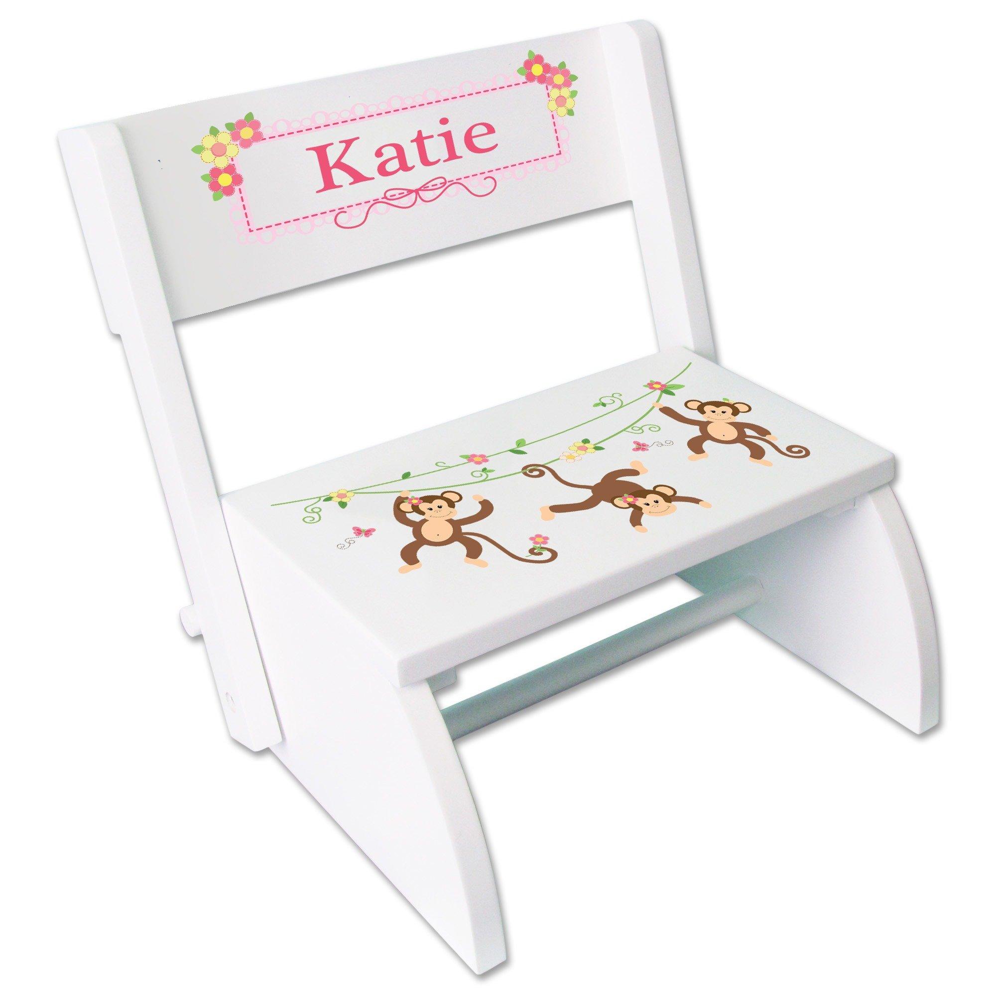 Personalized Monkey Girl White Wooden Folding Stool and Seat