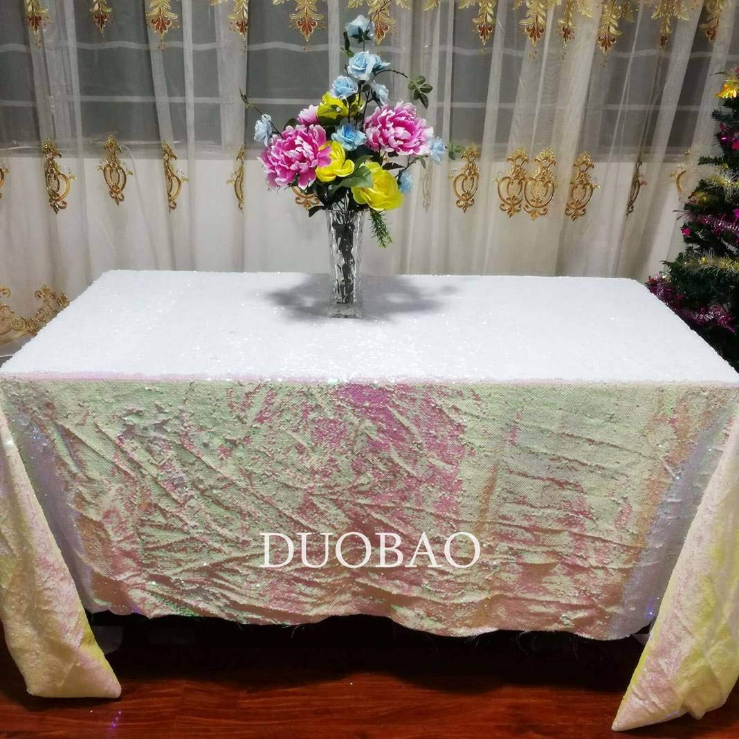 DUOBAO Sequin Tablecloth 60x84-Inch Iridescent White Mermaid Sequin Fabric Change White to White Glitter Tablecloth Reversible tablecloths for Rectangle Tables~0516
