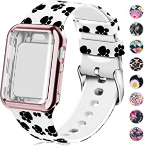 Compatible for Apple Watch Band 40mm Women with Screen Protector Case, Soft Silicone Sport Wristband for Apple Watch iwatch Series 6 5 4 SE (40mm,Foot Print)