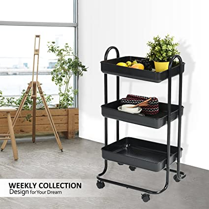 Rolling Cart Bathroom Utility Trolley Wohomo 3 Tier Cart With Handles And  Locking Caster Wheels Small