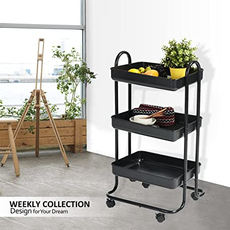 Rolling Trolley Cart Wohomo 3 Tier Tray With Handles And Locking