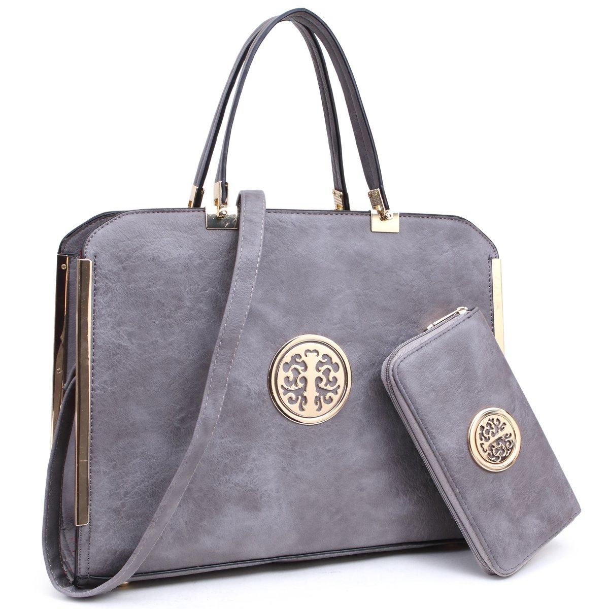 MKY Large Satchel Handbag Designer Purse Multicolor Grey w/ Matching Wallet Shoulder Strap