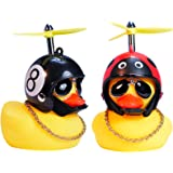 wonuu Rubber Duck Toy Car Ornaments Yellow Duck Car Dashboard Decorations with Take-Copter Helmet for Adults, Kids…