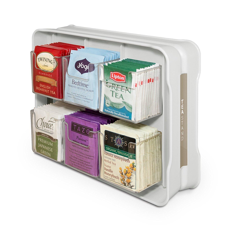 YouCopia 06121-31-WHT TeaStand 100+ Tea Bag Organizer, White
