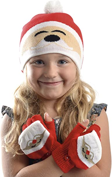 Rjm Girls Christmas Hat /& Glove Set 3 Designs to Choose from