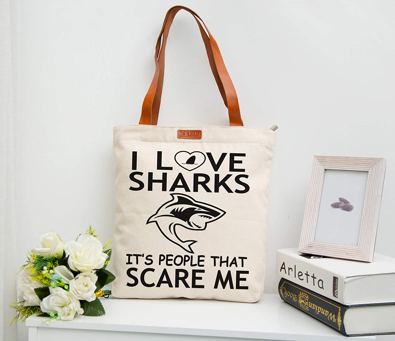 IN/&RHAN Women I Love Shark Printed Tote Shoulder Shopper Bag