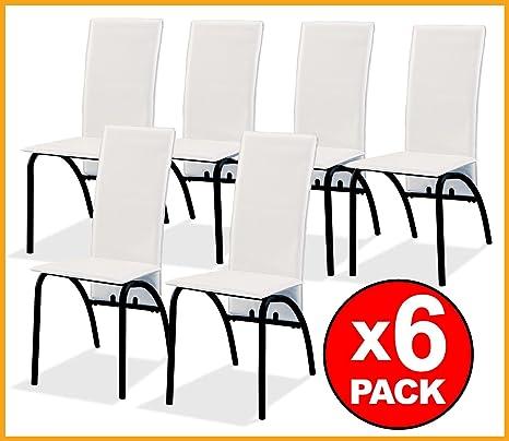 LIQUIDATODO ® - Conjunto PACK 6 SILLAS comedor modernas y baratas en polipiel blanco / armazon