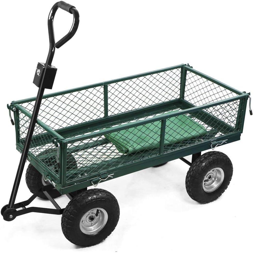 JXQ Cars Pesado Gran Carro del Carro de jardín camión de Transporte de 4 Ruedas de Metal Monociclo Gran 300kg,Green