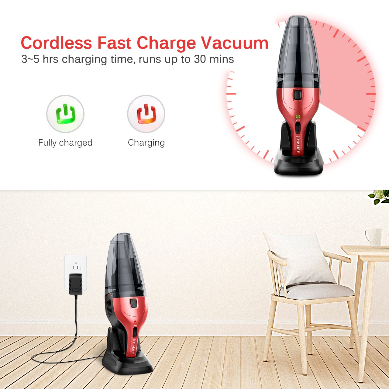 HoLife Handheld Vacuum 14.8V Hand Cordless Portable Pet Hair Home and Car Cleaning, min, Red by HoLife (Image #6)