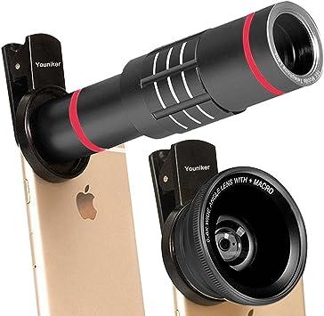 Youniker Lentes de Cámara para Teléfono Kit 3 en 1, 18X Teleobjetivo + 0.6X Lente Gran Angular + 15X Lente Macro, Compatible con iPhone Huawei Smartphone: Amazon.es: Electrónica