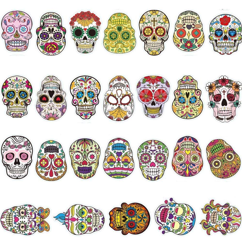REZAUP Sugar Skull Stickers Dia de Los Muertos Mexican Day of The Dead Sticker Laptop Skull Decals Dia de Personalize Skateboard,Snowboard,Car,Helmet,Luggage,Bikes