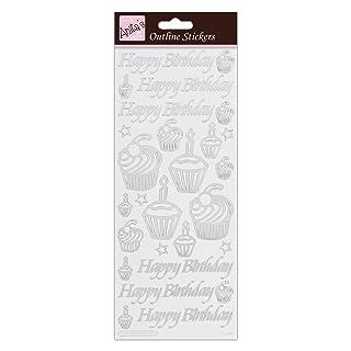 Anita' s Birthday cupcake adesivi sagomati bianco, foglio adesivo, argento, 29.22x 10.55x 0.07cm