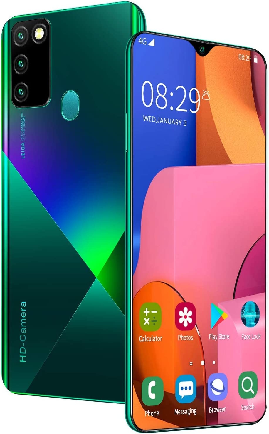 Mobile Phone A90 Smartphone SIM Free Android 10.0 Phones Unlocked, 6.8 inches Waterdrop Full-Screen 16MP + 32MP 4500mAh Battery Dual Camera Dual SIM