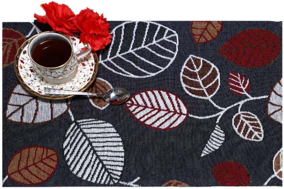 MyMadison Home Tropical Teal Leaves Placemats, 100% Cotton Designer Jacquard Collection, Machine Washable, Everyday Use for Dinner Table (13 X 18 Inch) (Graphite) (Set of 4)