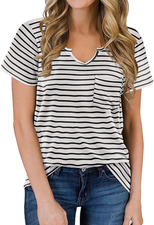 NIASHOT Women's Short Sleeves T Shirt V Neck Basic Tee Cute Tops