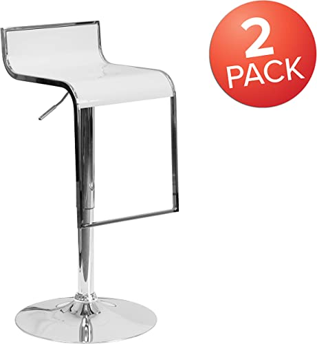 Flash Furniture 2 Pk. Contemporary White Plastic Adjustable Height Barstool