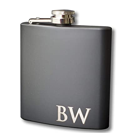Custom Engraved Black Flask Personalized With Any Text