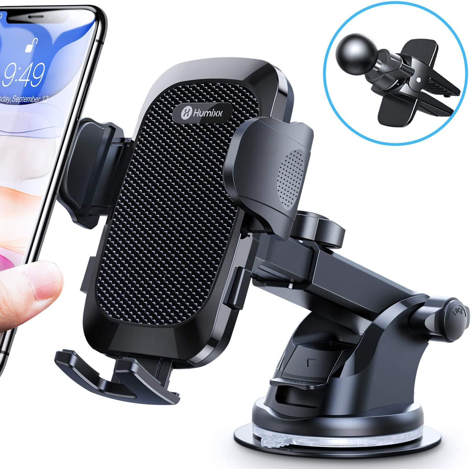 Humixx Phone Car Holder Mount, Upgraded Double Release Button Suction Cup Phone Holder for Car Dashboard Windshield Air Vent Compatible with iPhone SE 11 Pro Max XR XS X Samsung Galaxy Note 20 S20 S10