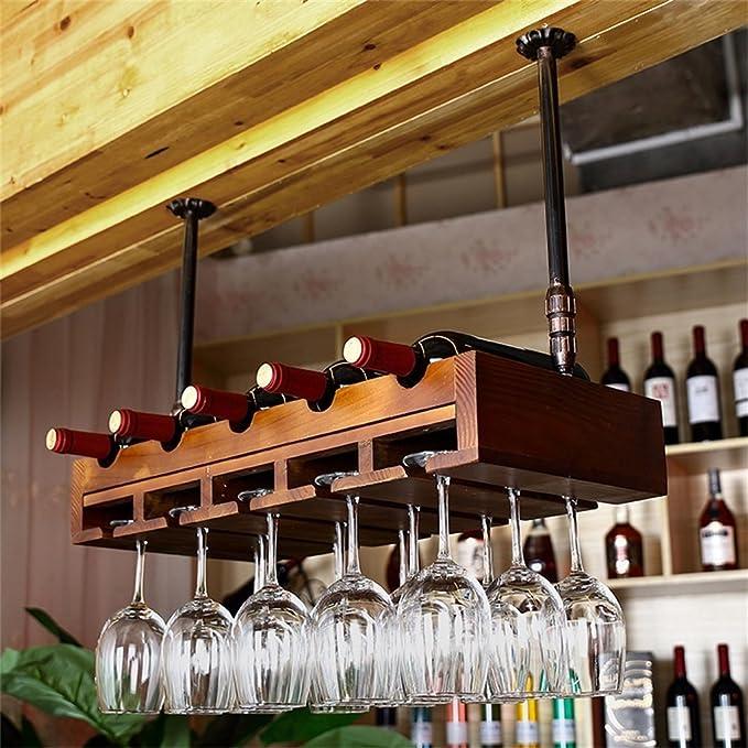 Muebles de Bar Montado en la Pared Botellas de Vino y portavasos, Almacenamiento de Madera Natural del gabinete del Vino Estante de Almacenamiento en la ...