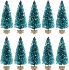VinBee 30 PCS Artificial Mini Christmas Trees Mini Pine Tree Sisal Trees Miniature with Snow Wood Base Ornaments for Christmas Table Top Decor Winter Crafts,Blue (2.6 inch)