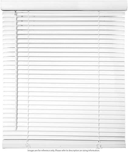 Biltek 37 W x 64 H Cordless Window Blinds 1 Slat PVC Vinyl Venetian Horizontal Privacy Shade Anti-UV White