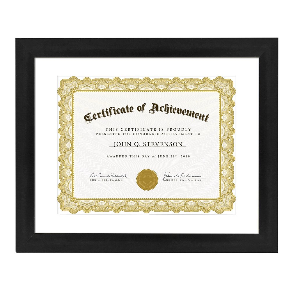 Betus 11x14 Black Document Frames, [Elegant Design] Wood Framework with PS Polymer Front Display 11 x 14 inch or 8.5x11 with Mat - Certificates, Diplomas & Degrees - Wall Mounting Material Included
