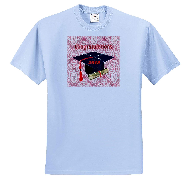 T-Shirts Image of Black Cap Red Tassel Diploma On Red Vintage Back 3dRose Lens Art by Florene Graduation