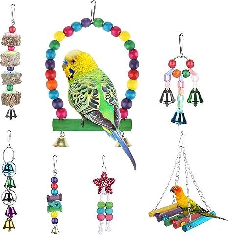 Jadeshay Uccello Giocattolo da Masticare Pavone in Legno Campana in Rame Pendente Appeso Altalena Pappagalli Masticare Mordere Giocare Gabbia Giocattolo