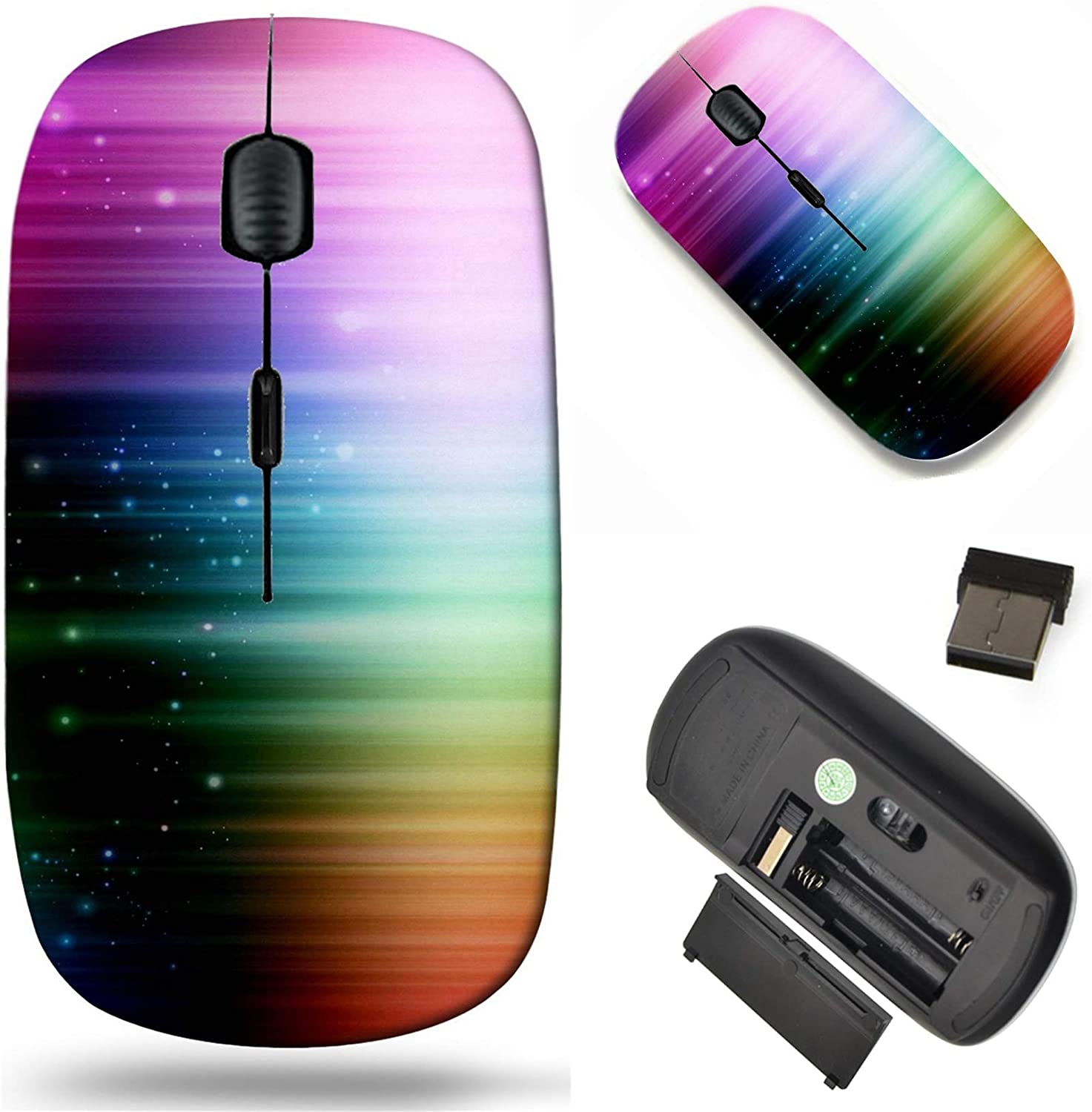 Wireless Mouse 2.4G Black Base Travel Wireless Mice with USB Receiver, Noiseless and Silent Click with 1000 DPI for Notebook pc Laptop Computer MacBook Image of Background Abstract Colorful Black des