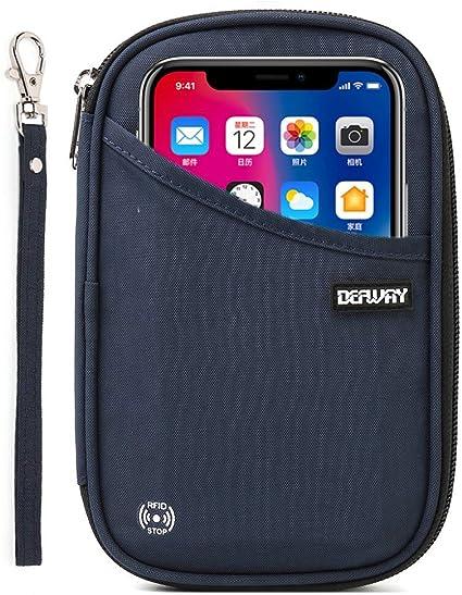 RFID Cell Phone  Passport Travel Bag Big Orange Dots 3 pocket